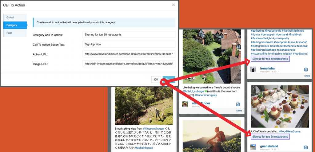 Embedding Call To Actions in User Generated Content
